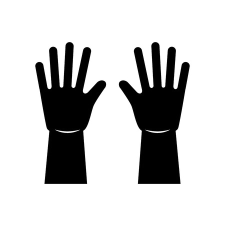 Black silhouette pair of rubber gloves for cleaning equipment vector illustration