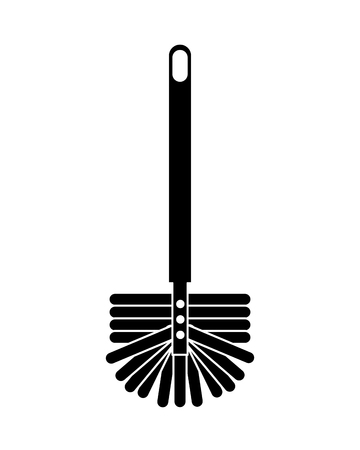 A toilet brush with long handle for sanitary icon vector illustration black and white design Stock Illustratie