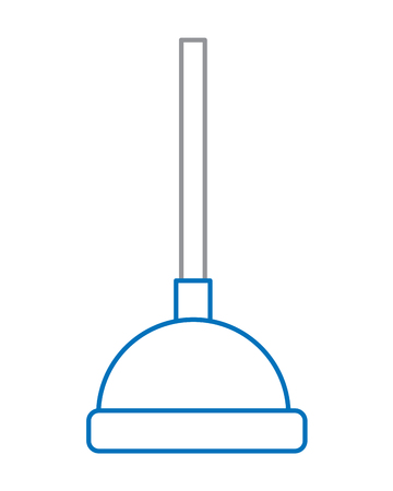 A plunger bath tool for hygiene, isolated vector illustration in blue and gray linear design