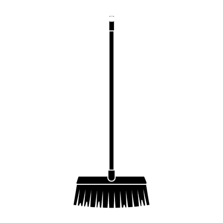 A black silhouette long wooden handle broom, tool for cleaning vector illustration