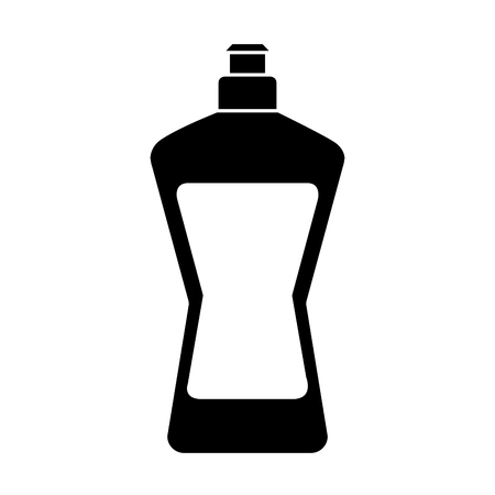 A plastic bottle container for liquid detergent or dish washing, vector illustration in black and white design