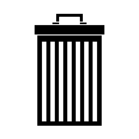 A trash can container for garbage recycling, vector illustration in black and white design