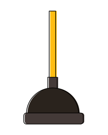 A plunger for cleaning bathroom tool for hygiene concept, vector illustration