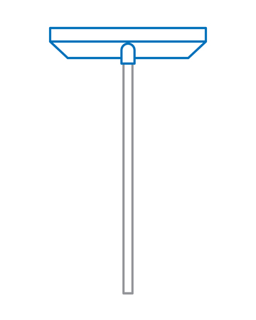 Long handle brush for washing widow glasses, scraper cleaning vector illustration blue and gray line design Illustration