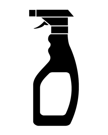 Black silhouette plastic bottle spray hygiene cleaning vector illustration black and white design