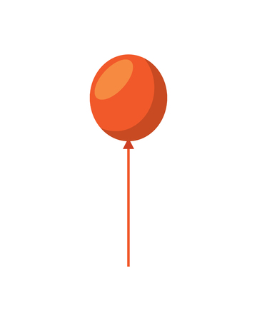 An orange balloon ornament decoration icon isolated on white, vector illustration