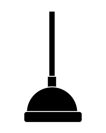 A black silhouette plunger cleaning bathroom tool hygiene concept vector illustration