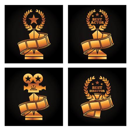 gold trophies award best director actor actress strip film movie Illustration