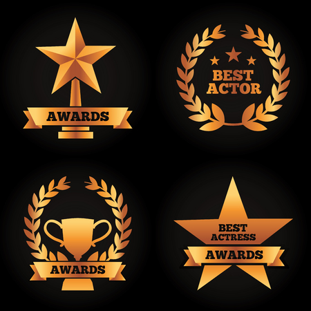 collection gold trophies star cup laurel awards best actor actress vector illustration black background 스톡 콘텐츠 - 95589387
