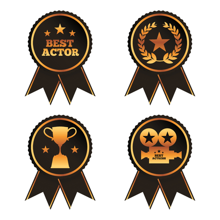 collection rosette award trophy laurel projector best actor actress vector illustration