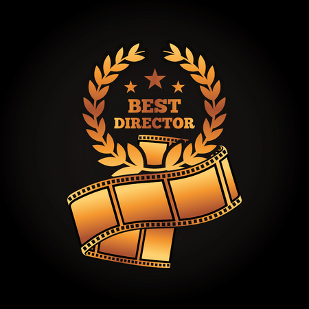 A gold award best director laurel strip film movie vector illustration black background Ilustração