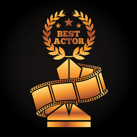 A gold award trophy with laurel best actor strip film movie vector illustration black background