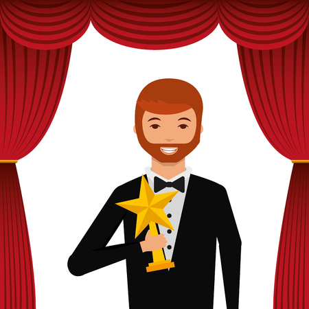 actor wearing tuxedo holding gold star award vector illustration