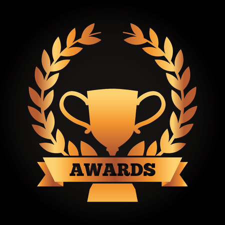 黒の背景ベクトルイラストに賞を受賞した成功ゴールドカップ月桂樹花とリボン  イラスト・ベクター素材
