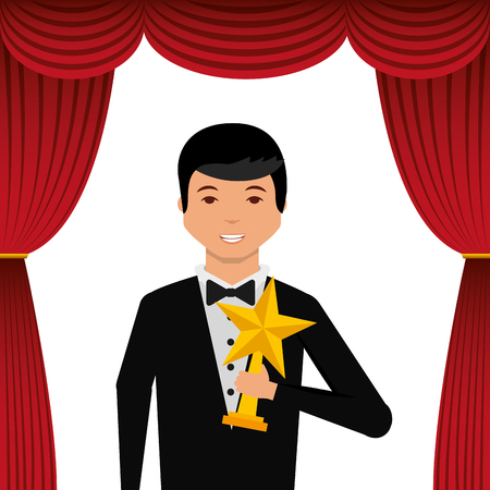 Actor wearing tuxedo holding gold star award vector illustration. Illustration