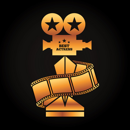 Gold award projector trophy, best actress, strip film movie vector illustration in black background.