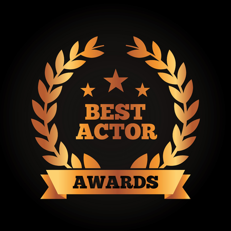 Best actor award wreath laurel ribbon vector illustration black background.