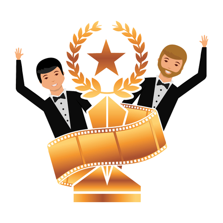 two actors waving hand with gold trophy laurel star strip film vector illustration