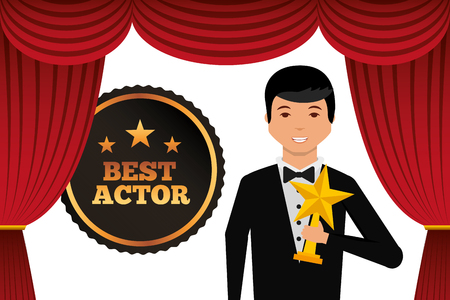 Actor wearing tuxedo holding gold star award vector illustration Illustration