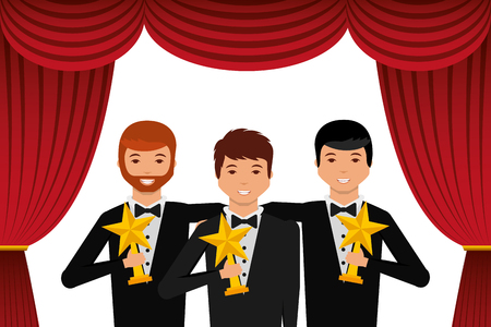 Group of elegant actors holding gold trophies star in the theater vector illustration. Illustration