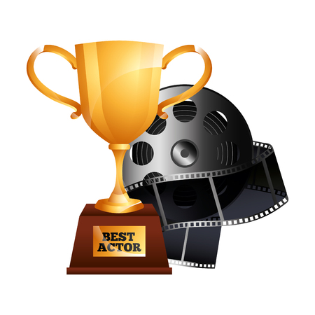 Best actor gold trophy cup award, reel film movie vector illustration. Illustration