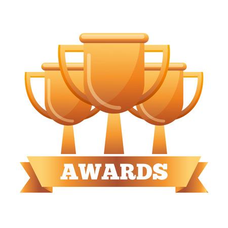 golden trophies vector illustration