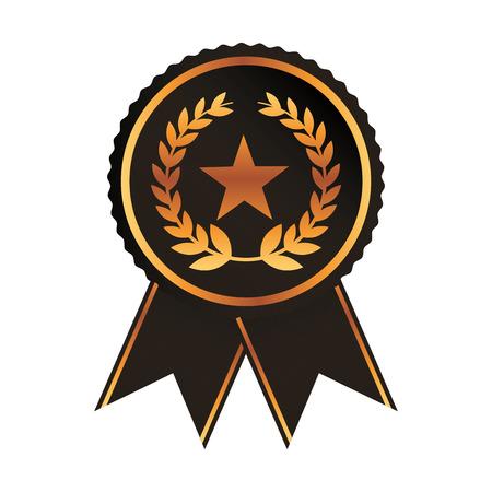 award ribbon gold black medal with star laurel wreath rosette vector illustration Ilustrace