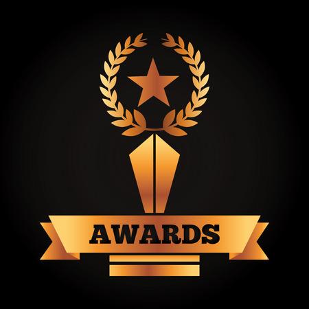 award gold star and laurel competition banner vector illustration black background Illustration