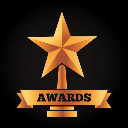 gold star trophy vector illustration black background Illustration
