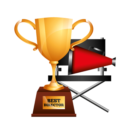 best director trophy cup award and chair megaphone vector illustration