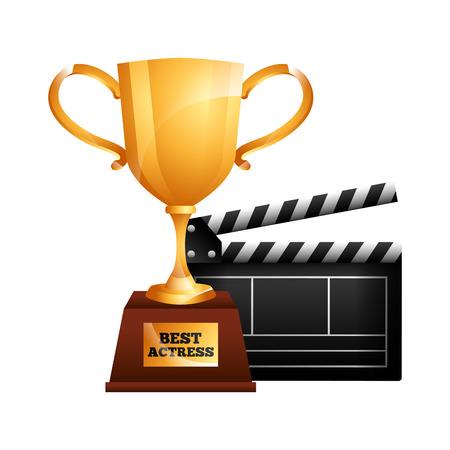 best actress trophy cup and clapper film vector illustration Foto de archivo - 95810238