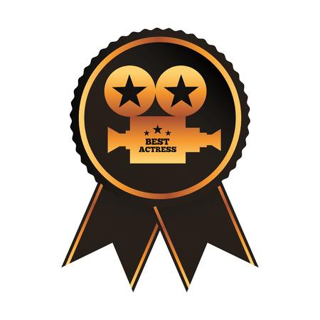 black rosette award for best actress vector illustration Illustration