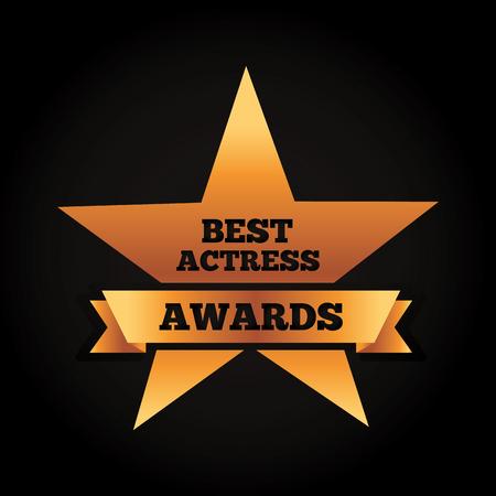 gold star award for best actress vector illustration black background Illustration