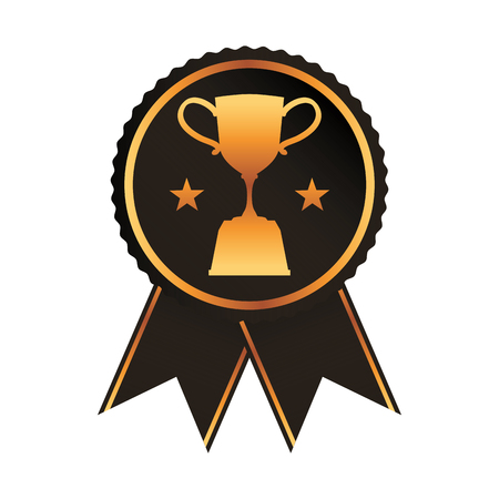 black rosette with trophy cup award vector illustration Çizim