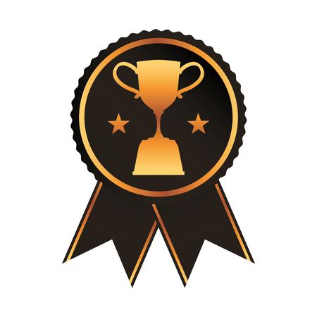 black rosette with trophy cup award vector illustration Illustration