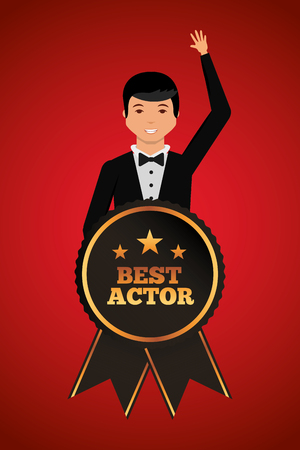 Man waving in stylish clothes with award best actor vector illustration red background