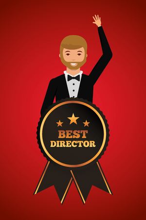 man waving in stylish clothes with award for best director vector illustration