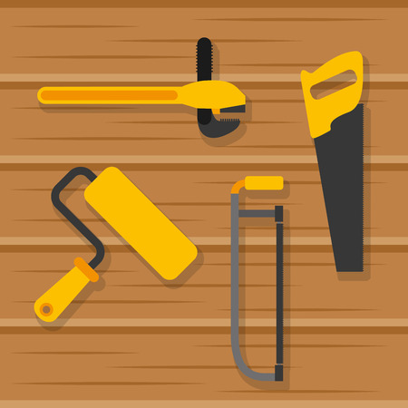 set tools construction equipment on wooden background vector illustration