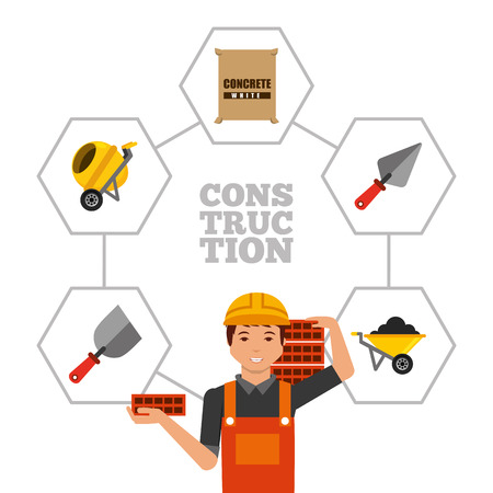 construction worker holding bricks and tools vector illustration