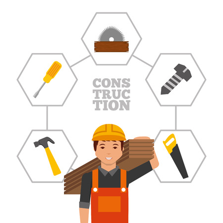 construction workerwith wooden boards and tools vector illustration