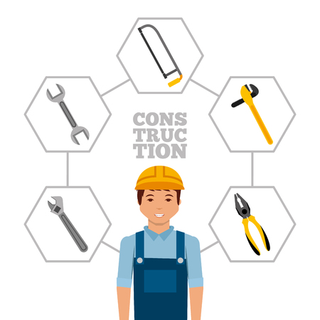 construction worker with helmet and tools vector illustration Vettoriali