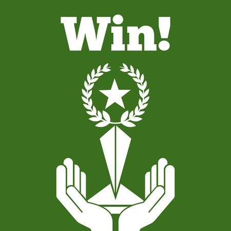 win hands holding trophy laurel star green background vector illustration Иллюстрация