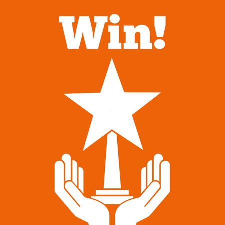hands holding star trophy award win orange background vector illustration Иллюстрация