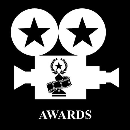 white projector awards trophy star strip film vector illustration black background Stock Illustratie