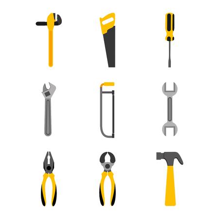 set tools construction equipment supplies vector illustration 일러스트