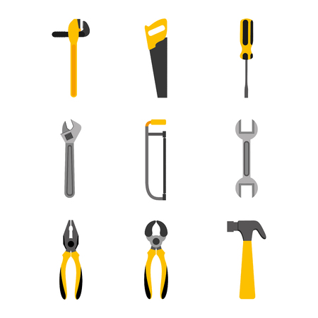 set tools construction equipment supplies vector illustration Vectores