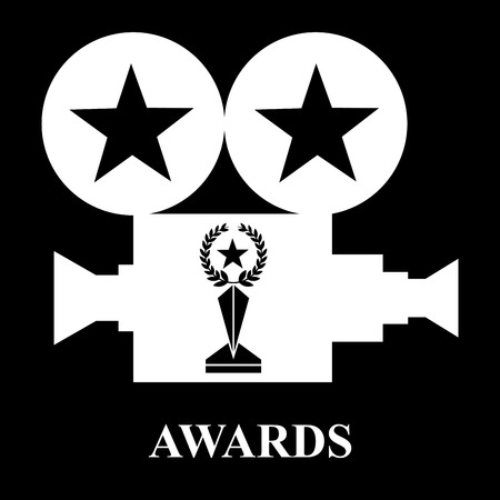 white projector awards trophy star laurel vector illustration black background Stock Illustratie