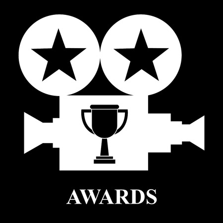 white projector trophy cup awards stars vector illustration black background