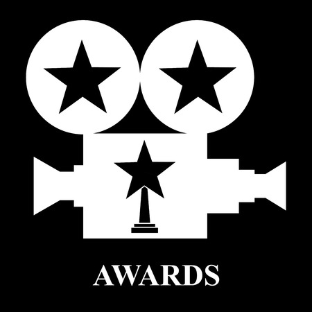 white projector awards star trophy vector illustration black background Stock Illustratie