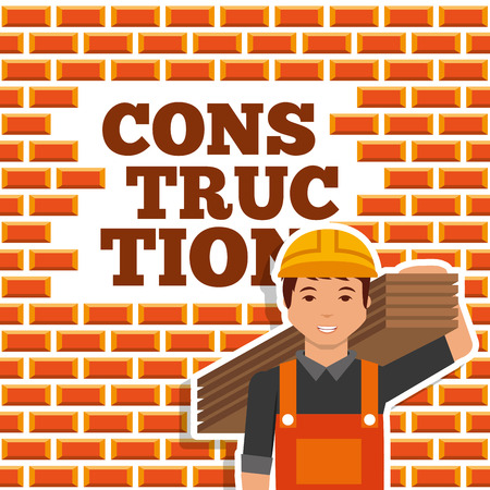 construction worker holding wooden board wall brick vector illustration Иллюстрация